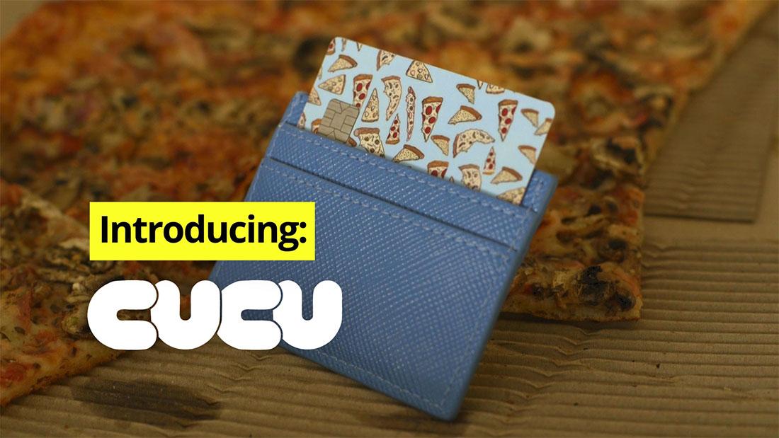 kickstarter video cucu covers pizza box credit card sticker closeup with text that says introducing cucu