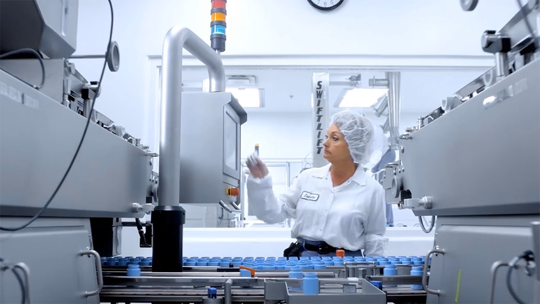 still image from a video detailing medicine manufacturing process